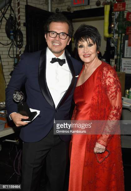 John Leguizamo and Chita Rivera pose backstage during the 72nd Annual Tony Awards at Radio City Music Hall on June 10 2018 in New York City