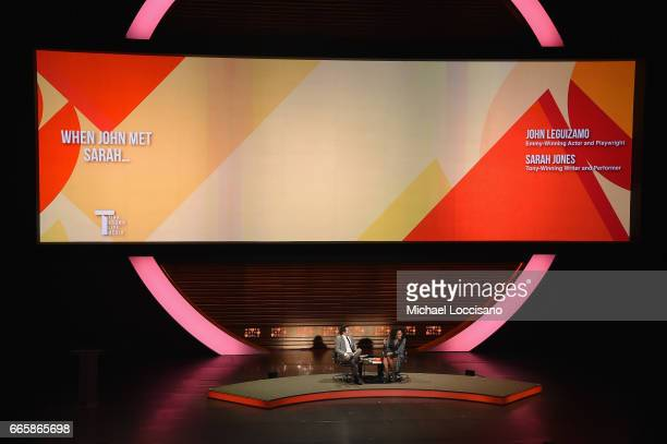 John Leguizamo and Sarah Jones speak during the Eighth Annual Women In The World Summit at Lincoln Center for the Performing Arts on April 7 2017 in...