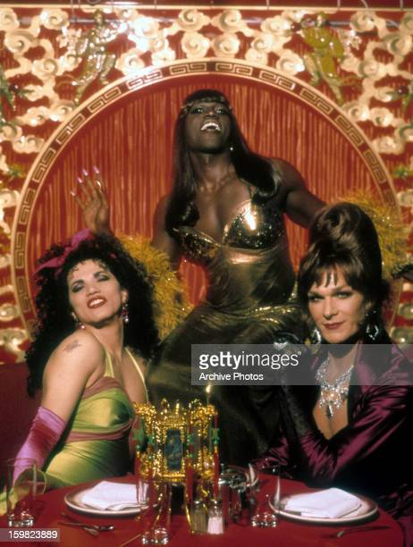 John Leguizamo Wesley Snipes and Patrick Swayze in a restaurant in a scene from the film 'To Wong Foo Thanks for Everything Julie Newmar' 1995