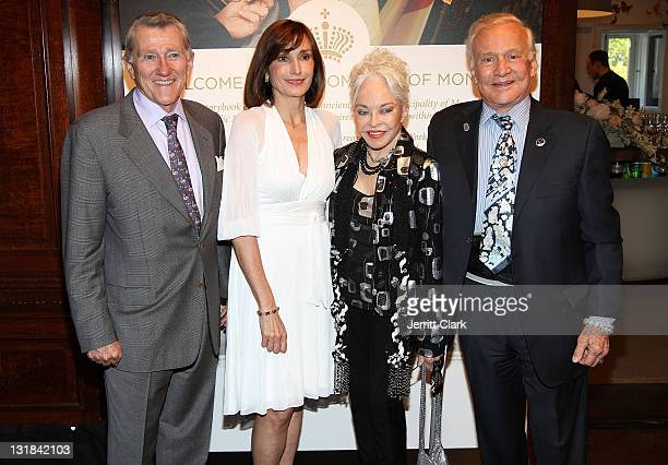 John Lehman Honorary Maguy Maccario Lois Driggs Cannon and Buzz Aldrin attend the All That Glitters champagne reception celebrating the romance of...