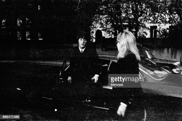 John Lennon and Cynthia Lennon attends The Brian Epstein Memorial Service held at the New London Synagogue at 33 Abbey Road London close to EMI...