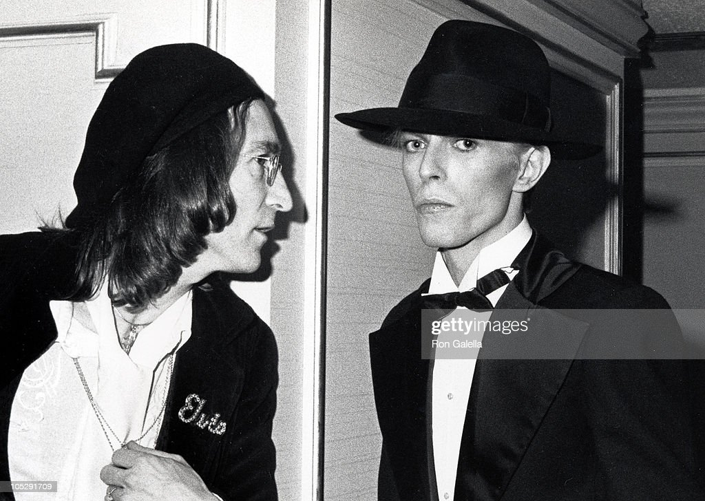 John Lennon and David Bowie during The 17th Annual GRAMMY Awards at Uris Theater in New York City, New York, United States.