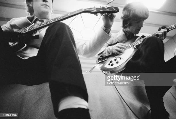 John Lennon and George Harrison backstage at the Budokan Hall Tokyo Japan 2nd July 1966 during the Beatles' tour of Asia 1966