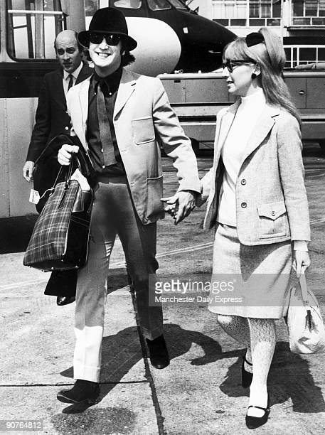 John Lennon and his first wife Cynthia Powell on their way to the Cannes Film Festival Lennon formed the Beatles in 1960 with Paul McCartney George...