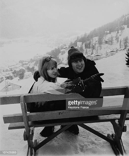John Lennon And His Wife Cynthia Skiing At Saint Moritz In Switzerland On January 31St 1965