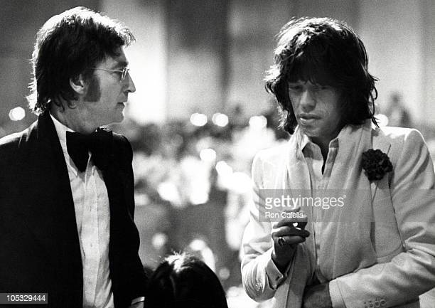 John Lennon and Mick Jagger during American Film Institute Salute to James Cagney at Century Plaza Hotel in Los Angeles California United States