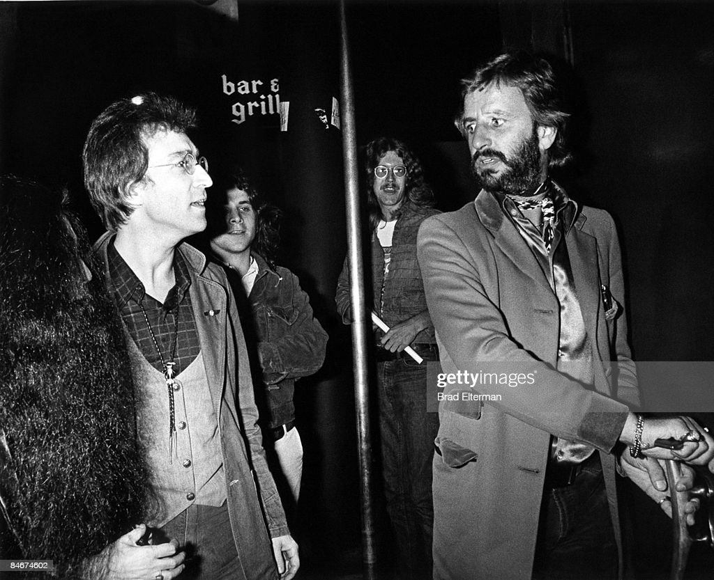 John Lennon and Ringo Star arrive at On The Rox nightclub in Los Angeles, California. **EXCLUSIVE**