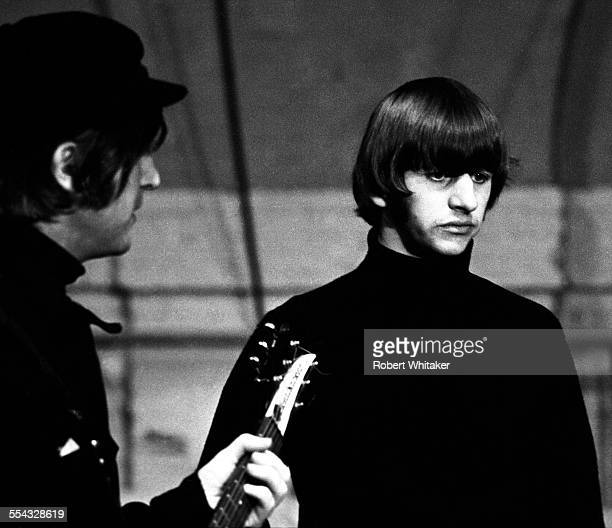 John Lennon and Ringo Starr are pictured at the Donmar Rehearsal Theatre central London during rehearsals for The Beatles upcoming UK tour November...
