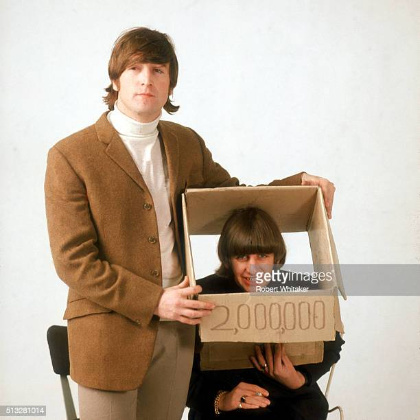 John Lennon and Ringo Starr of The Beatles in an outtake from the cover session for the 'Yesterday Today' album Vale Studios Chelsea London 25th...