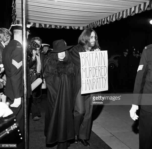 John Lennon and Yoko Ono arriving at the Charity world Premier of 'The Magic Christian' at the Odeon Kensington 11th December 1969