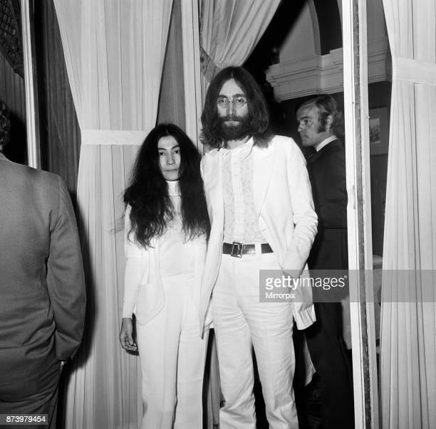 John Lennon and Yoko Ono at the film reception of 'The Magic Christian' 4th May 1969