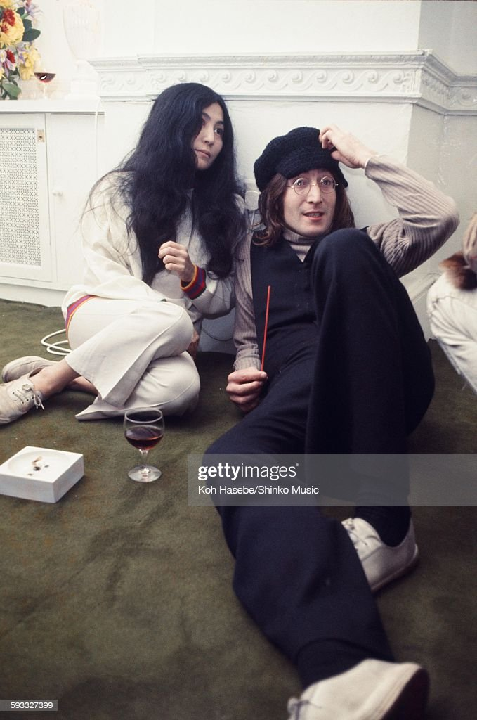 John Lennon and Yoko Ono Christmas party at Apple Corps Ltd., London ...