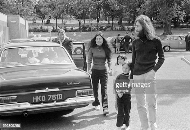 John Lennon and Yoko Ono greeting fans near their home in Surrey before a trip up to Durness Scotland Unfortunatley the journey ended 40 miles from...