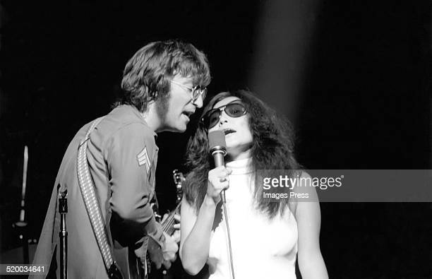 John Lennon and Yoko Ono performs on stage circa 1970s in New York City