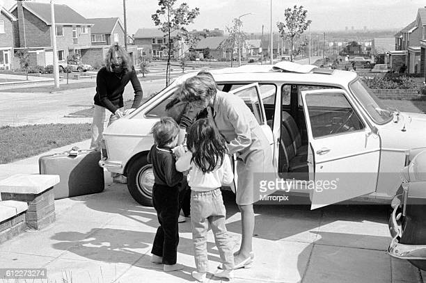 John Lennon and Yoko Ono prepare for a trip up to Durness Scotland in their Austin Maxi with his son Julian and her daughter Kyoko Chan Cox...