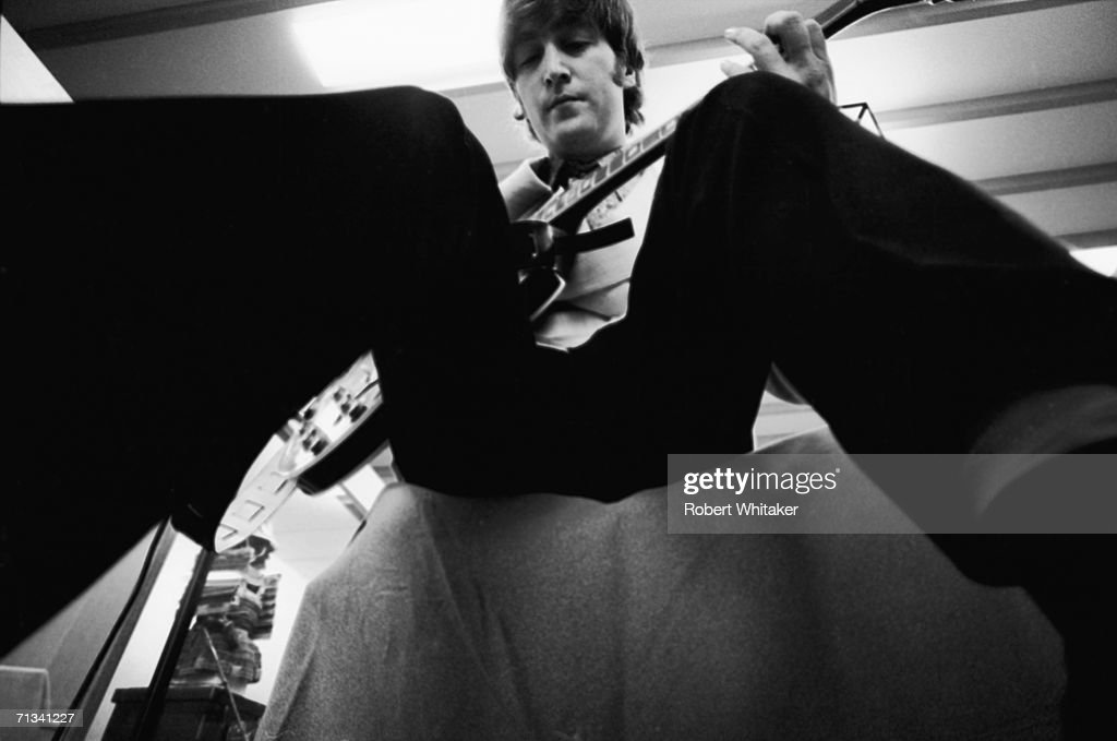 John Lennon backstage at the Budokan Hall Tokyo, Japan, during the Beatles Asia tour, 2nd July 1966.