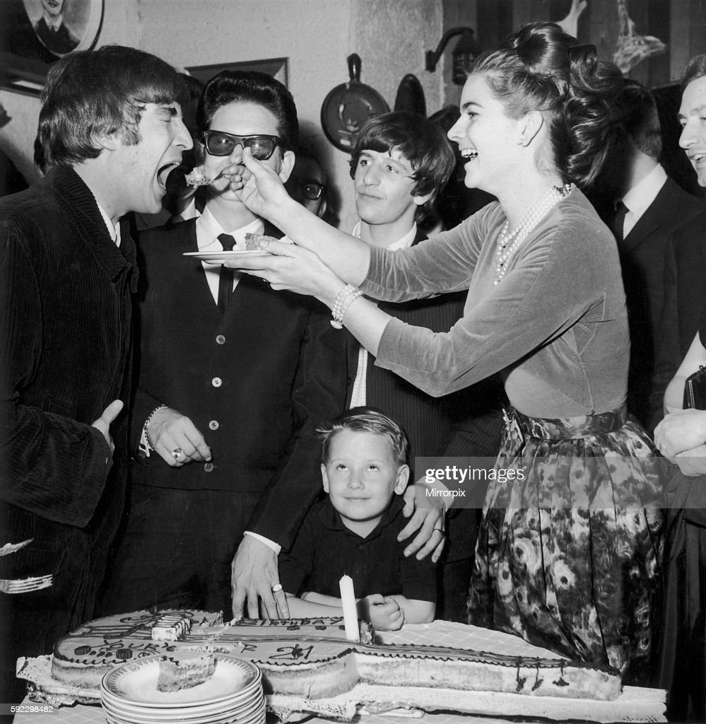 John Lennon Being Fed Birthday Cake By Claudette Orbison While Her Husband Roy Son