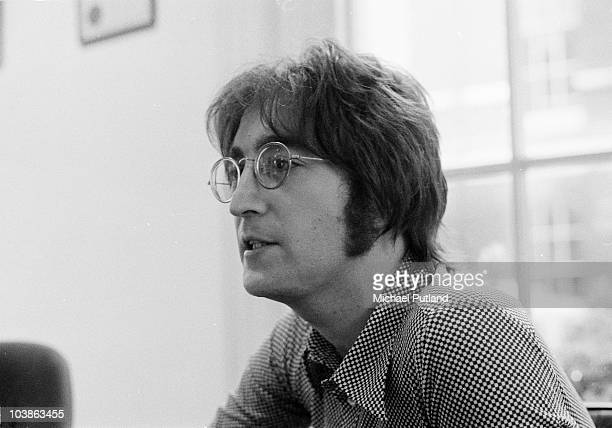 John Lennon being interviewed by journalist Steve Turner of Beat Instrumental magazine Apple Records London 19th July 1971
