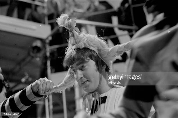 John Lennon from The Beatles rehearsing for the filming of 'Around The Beatles' Around the Beatles was a 1964 television special featuring the...
