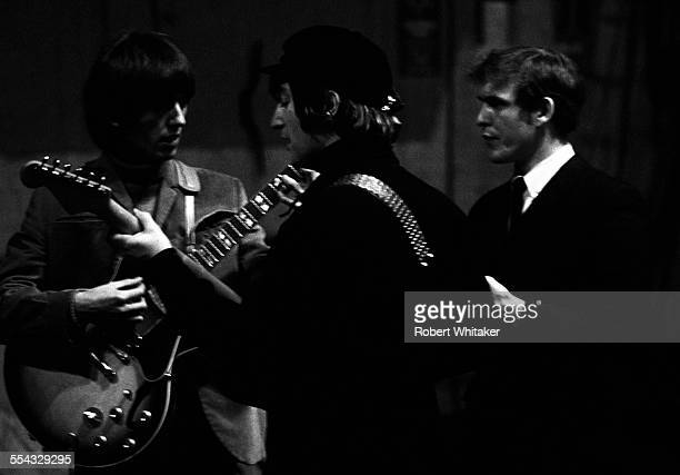 John Lennon George Harrison and Neil Aspinall are pictured at the Donmar Rehearsal Theatre in central London during rehearsals for The Beatles...