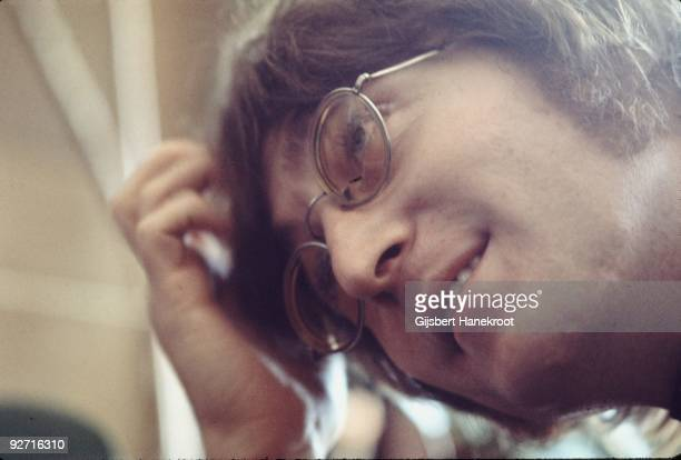 John Lennon in Selfridges department store, Oxford Street, London in 1971 to promote the publication of the 2nd edition of Yoko Ono's book Grapefruit