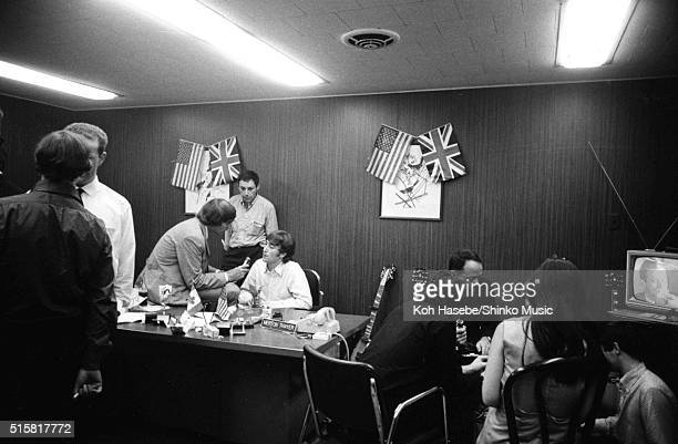 John Lennon of The Beatles is interviewed at Chicago International Amphitheatre Office August 12 1966