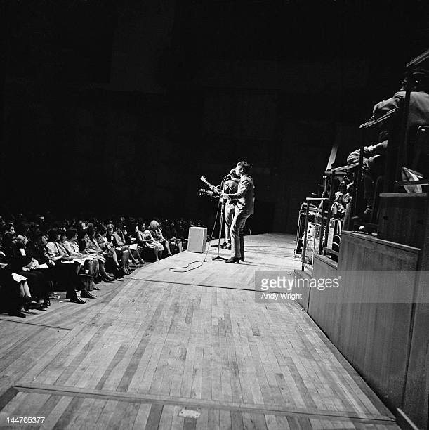 John Lennon performing on stage with The Beatles at Fairfield Halls Croydon 25th April 1963 The Beatles played two shows at the venue that day as...