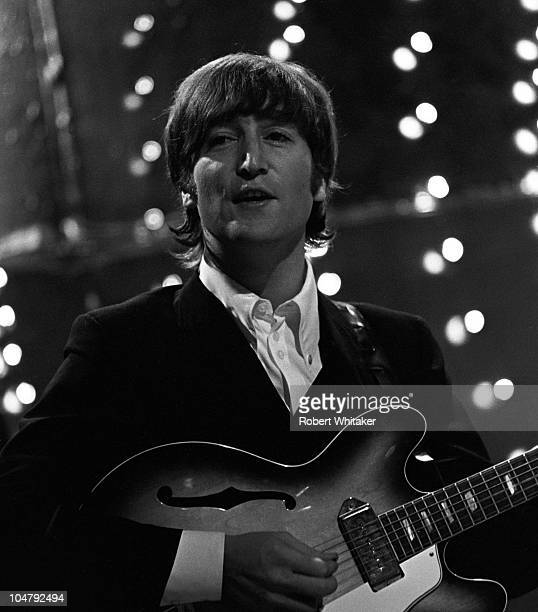 John Lennon performing the new single 'Paperback Writer' with The Beatles on the BBC TV music show 'Top Of The Pops' 16th June 1966