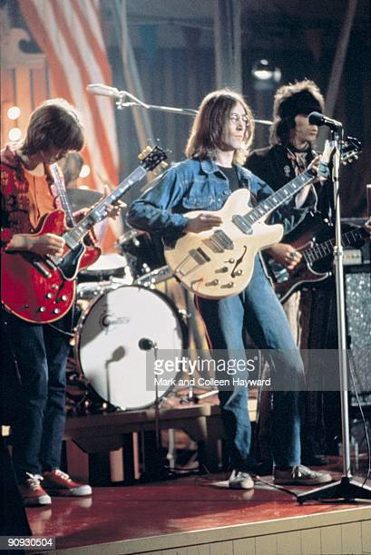 John Lennon plays 'Yer Blues' at the Rock 'n' Roll Circus Wembley London with Keith Richards on bass and Eric Clapton on guitar December 1968
