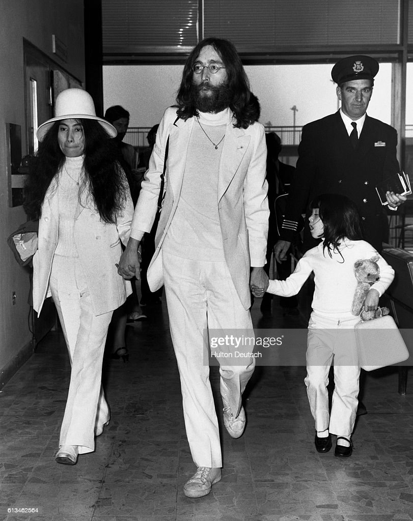 John Lennon Yoko Ono And Yokos Daughter By A Previous Marriage In Londons Heathrow