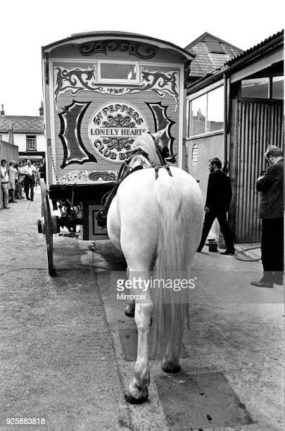 John Lennon's gaily painted gipsy caravan on its way to his home Monday 24th July 1967 Painted bright yellow with hand painted flower designs in...