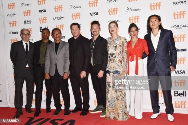 John Lesher Jonathan Majors Wes Studi Christian Bale Scott Cooper Rosamund Pike Q'orianka Kilche and Ken Kao attend the 'Hostiles' premiere during...
