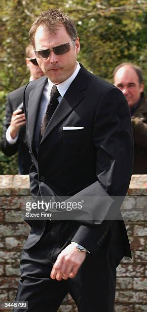 John Leslie attends the Funeral of Caron Keating following her death from breast cancer last week at Hever Church in Edenbridge on April 20 2004 in...