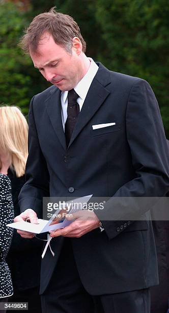 John Leslie leaves the Funeral of Caron Keating following her death from breast cancer last week at Hever Church in Edenbridge on April 20 2004 in...