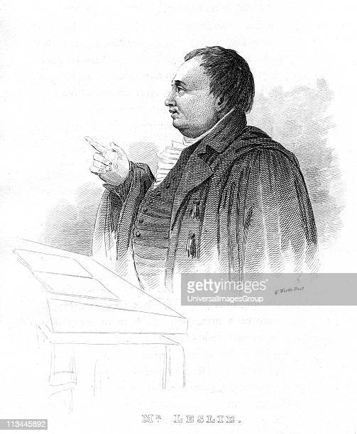 John Leslie , Scottish natural philosopher and physicis, lecturing. 19th century. He was Professor of Mathematics at Edinburgh 1805 and of Natural...