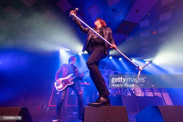 John Leven and Joey Tempest of Europe perform on stage at Barrowland Ballroom on September 15 2018 in Glasgow Scotland