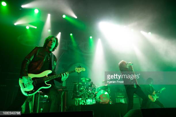 John Leven Joey Tempest and John Norum of Europe perform at the Olympia Theatre on September 12 2018 in Dublin Ireland
