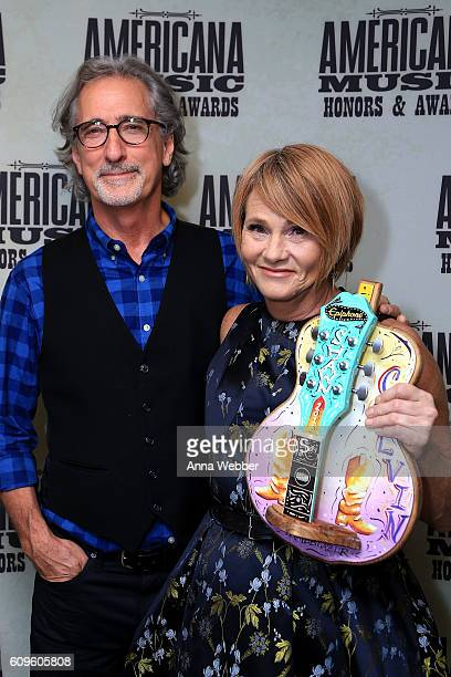 John Leventhal and Trailblazer Award recipient Shawn Colvin backstage at the Americana Honors Awards 2016 at Ryman Auditorium on September 21 2016 in...