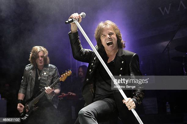 John Levén and Joey Tempest of Europe perform on stage at O2 Academy Leeds on March 8 2015 in Leeds United Kingdom