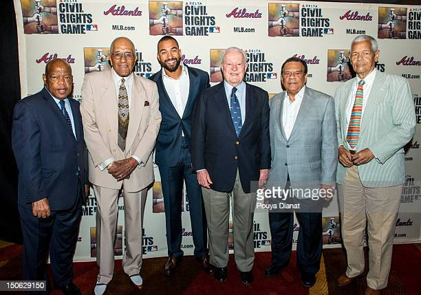 John Lewis former MLB player Don Newcombe Matt Kemp of the Los Angeles Dodgers Bill Bartholomay Andrew Young and Julian Bond pose for a photo at the...