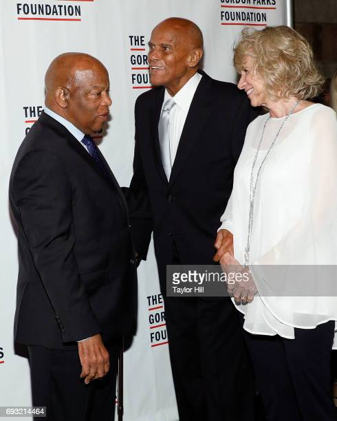 John Lewis Harry Belafonte and Pamela Frank attend the 2016 Gordon Parks Foundation Annual Gala at Cipriani 42nd Street on June 6 2017 in New York...