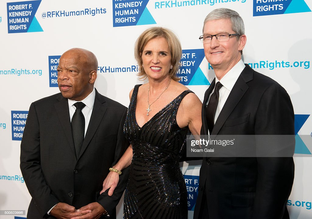 John Lewis, Kerry Kennedy and Tim Cook attend the Robert F. Kennedy human rights 2015 Ripple of Hope awards at New York Hilton Midtown on December 8, 2015 in New York City.