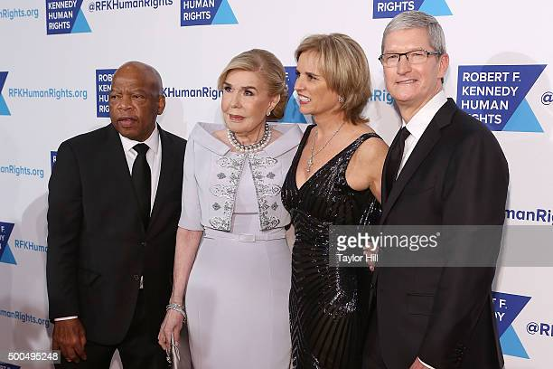John Lewis Marianna Vardinoyannis Kerry Kennedy and Tim Cook attend the Robert F Kennedy Human Rights 2015 Ripple Of Hope Awards at New York Hilton...