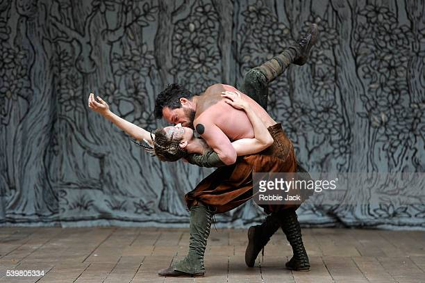 John Light as Oberon and Matthew Tennyson as Puck in William Shakespeare's A Midsummer Night's Dream directed by Dominic Dromgoole at Shakespeare's...