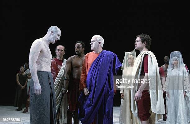 John Light James Hayes Finbar Lynch Ariyon Bakare and Luke Neal in the Royal Shakespeare Company production of Julius Caesar at the Royal Shakespeare...