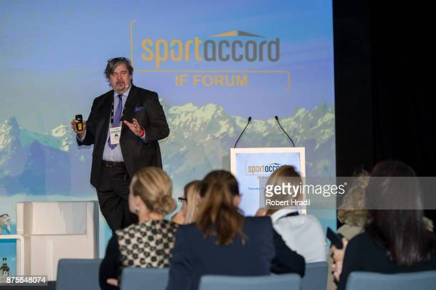 John Liljelund Secretary General IFF International Floorball Federation speaks during the Session Sourcing and Resource Management on November 9 2017...