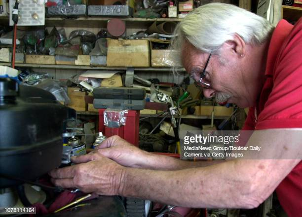 John Lindsey a mechanic for AAA Lawnmower works on a carburetor for a lawnmower on Wednesday