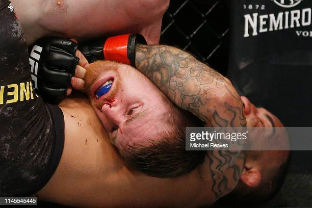 John Lineker of Brazil fights Cory Sandhagen during their bantamweight bout at UFC Fight Night at BBT Center on April 27 2019 in Sunrise Florida