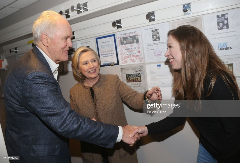 John Lithgow, Hillary Clinton and Chelsea Clinton Mezvinsky chat backstage at the Roundabout Theatre Company's hit production of 'John Lithgow: Stories By Heart' on Broadway at The American Airlines Theatre on February 1, 2018 in New York City.