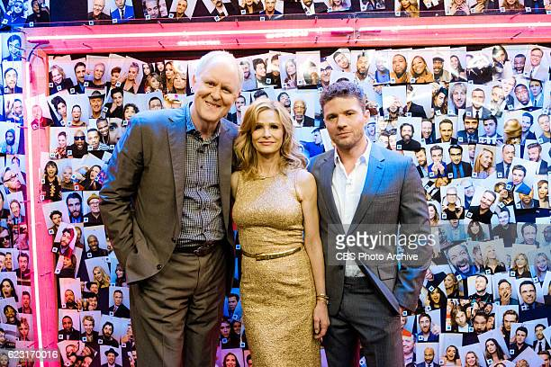 John Lithgow Kyra Sedgwick and Ryan Phillipe backstage during 'The Late Late Show with James Corden' Wednesday November 9 2016 On The CBS Television...